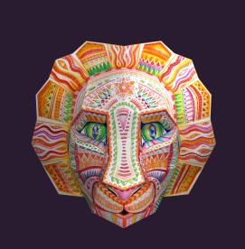 Lõvi mask 2015 (mudel: Blender, tekstuur: akvarell, värvipliiats)